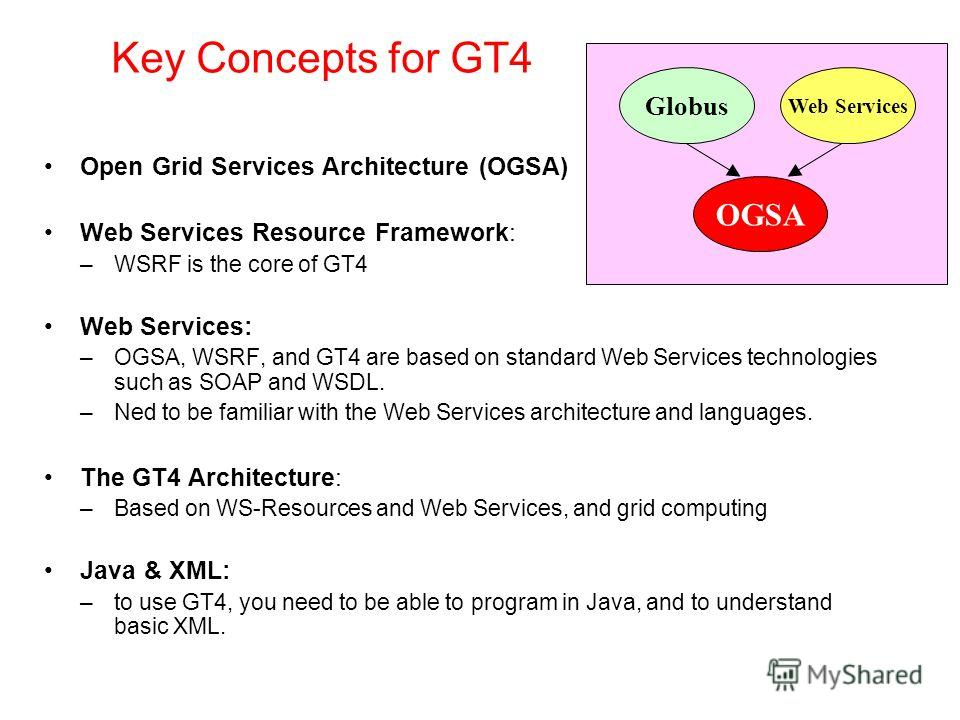 Key Concepts for GT4 Open Grid Services Architecture (OGSA) Web Services Resource Framework: –WSRF is the core of GT4 Web Services: –OGSA, WSRF, and GT4 are based on standard Web Services technologies such as SOAP and WSDL. –Ned to be familiar with t