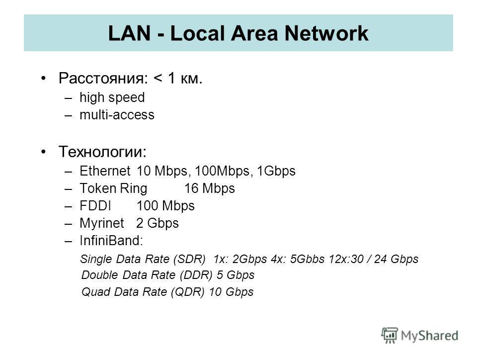 LAN - Local Area Network Расстояния: < 1 км. –high speed –multi-access Технологии: –Ethernet10 Mbps, 100Mbps, 1Gbps –Token Ring16 Mbps –FDDI 100 Mbps –Myrinet2 Gbps –InfiniBand: Single Data Rate (SDR) 1x: 2Gbps 4x: 5Gbbs 12x:30 / 24 Gbps Double Data