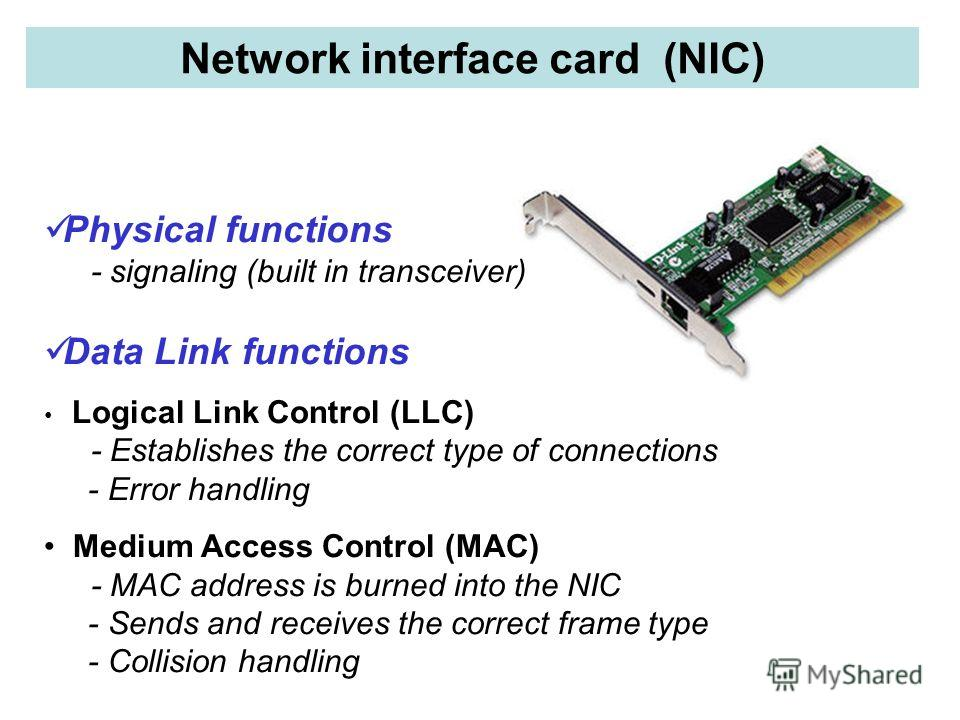 Network interface card (NIC) Physical functions - signaling (built in transceiver) Data Link functions Logical Link Control (LLC) - Establishes the correct type of connections - Error handling Medium Access Control (MAC) - MAC address is burned into