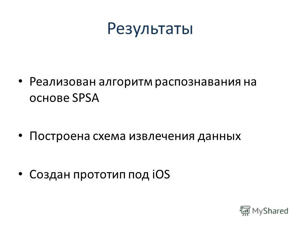 Результаты Реализован алгоритм распознавания на основе SPSA Построена схема извлечения данных Создан прототип под iOS