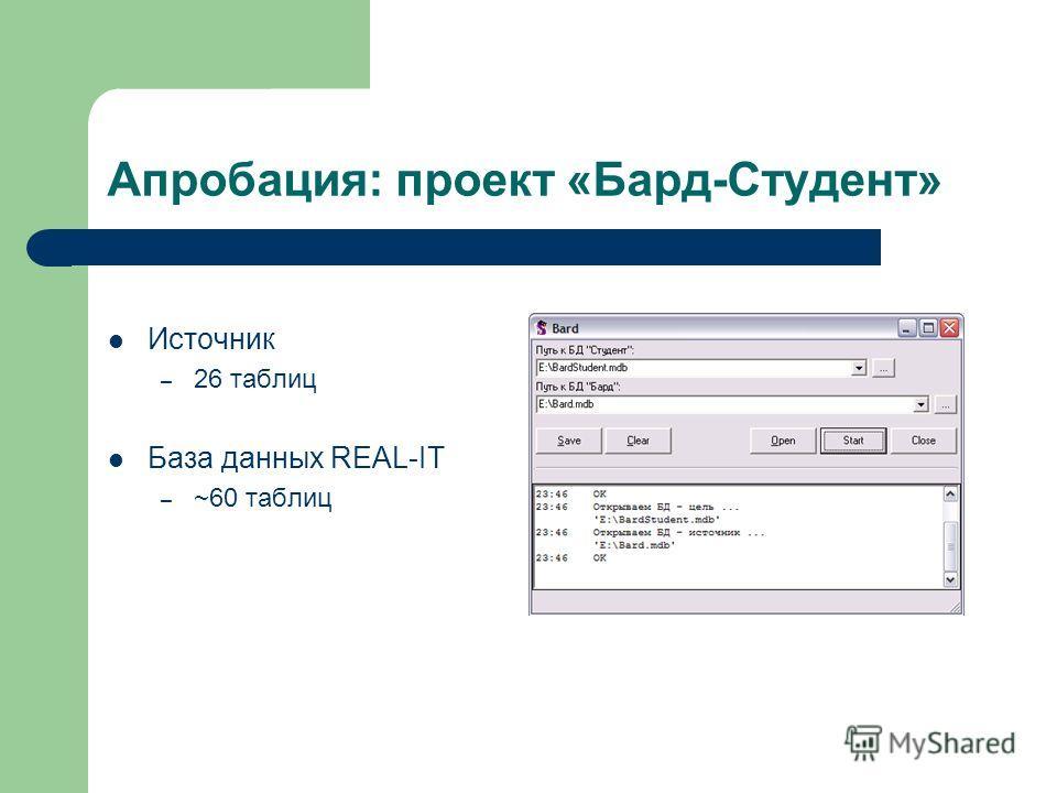 Апробация: проект «Бард-Студент» Источник – 26 таблиц База данных REAL-IT – ~60 таблиц