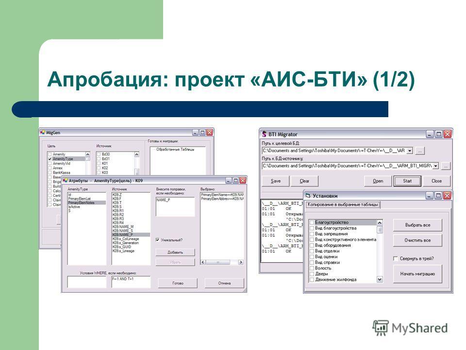 Апробация: проект «АИС-БТИ» (1/2)