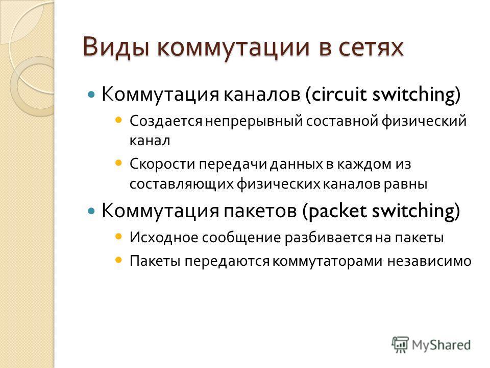 Виды коммутации в сетях Коммутация каналов (circuit switching) Создается непрерывный составной физический канал Скорости передачи данных в каждом из составляющих физических каналов равны Коммутация пакетов (packet switching) Исходное сообщение разбив