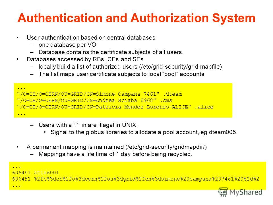 User authentication based on central databases –one database per VO –Database contains the certificate subjects of all users. Databases accessed by RBs, CEs and SEs –locally build a list of authorized users (/etc/grid-security/grid-mapfile) –The list