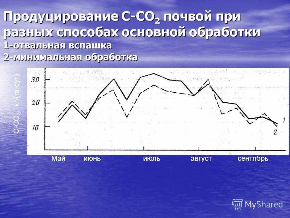 Продуцирование С-СО 2 почвой при разных способах основной обработки 1-отвальная вспашка 2-минимальная обработка Май июнь июль август сентябрь С-СО 2, кг/(га-сут)