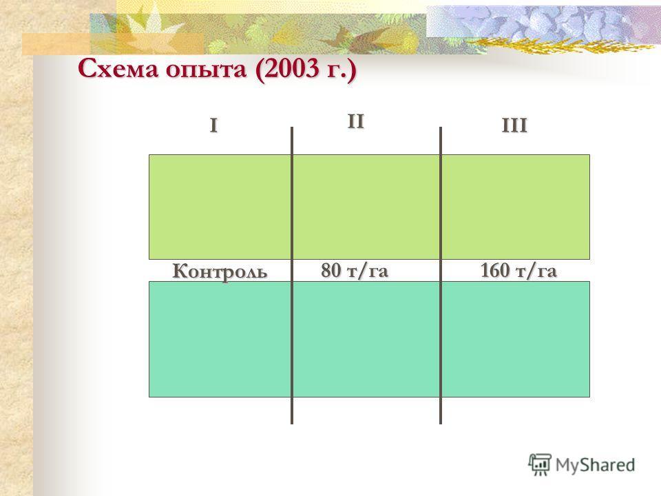 I II III Схема опыта (2003 г.) Контроль 160 т/га 80 т/га