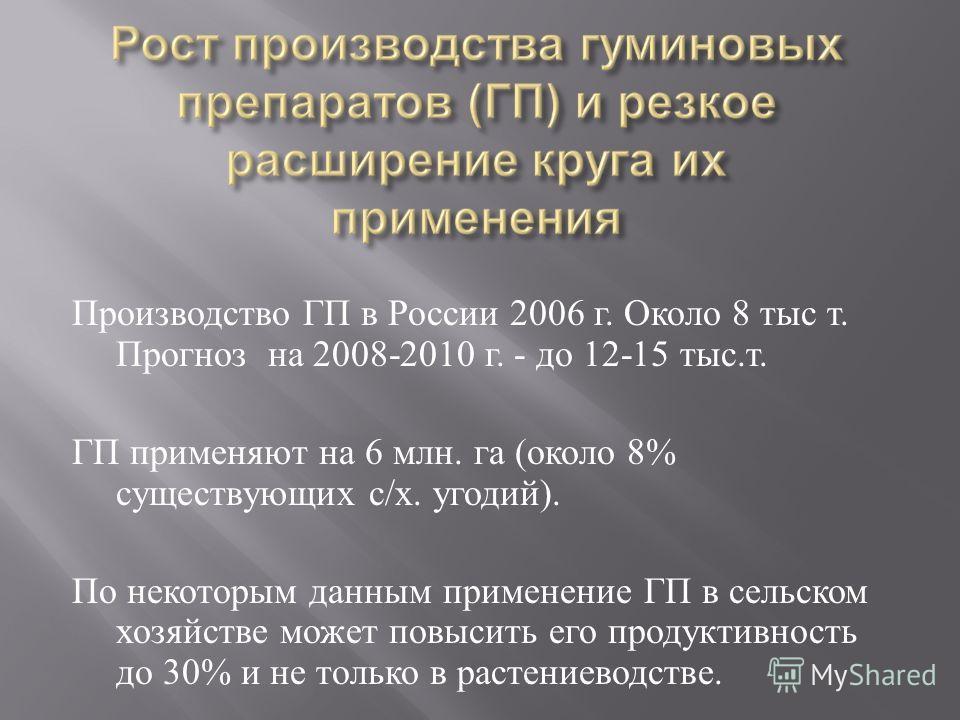Производство ГП в России 2006 г. Около 8 тыс т. Прогноз на 2008-2010 г. - до 12-15 тыс. т. ГП применяют на 6 млн. га ( около 8% существующих с / х. угодий ). По некоторым данным применение ГП в сельском хозяйстве может повысить его продуктивность до