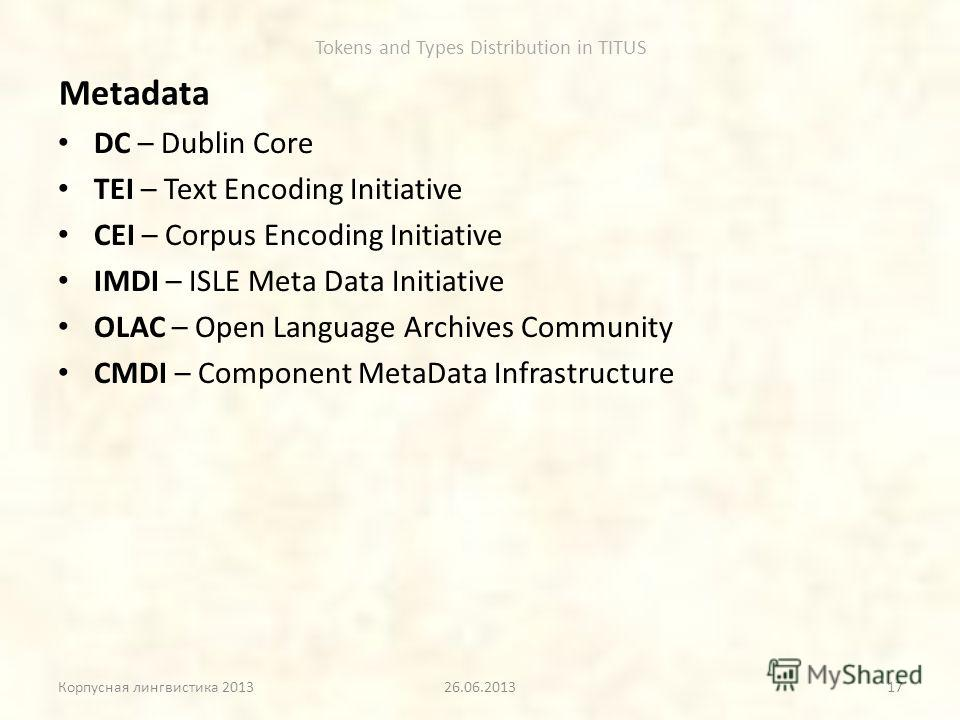 Tokens and Types Distribution in TITUS Metadata DC – Dublin Core TEI – Text Encoding Initiative CEI – Corpus Encoding Initiative IMDI – ISLE Meta Data Initiative OLAC – Open Language Archives Community CMDI – Component MetaData Infrastructure Корпусн