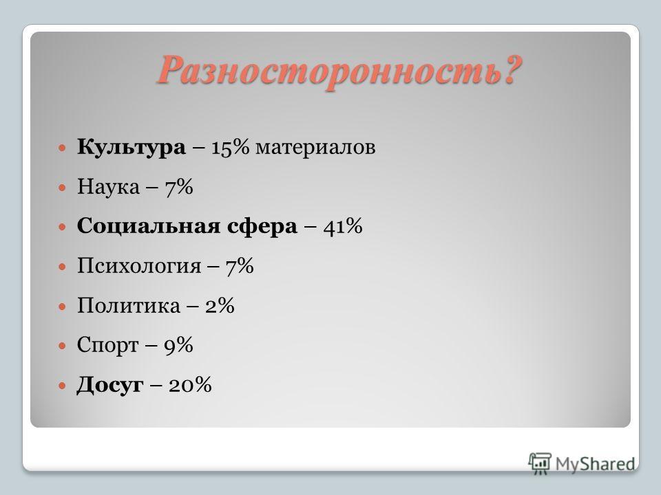 Разносторонность? Культура – 15% материалов Наука – 7% Социальная сфера – 41% Психология – 7% Политика – 2% Спорт – 9% Досуг – 20%