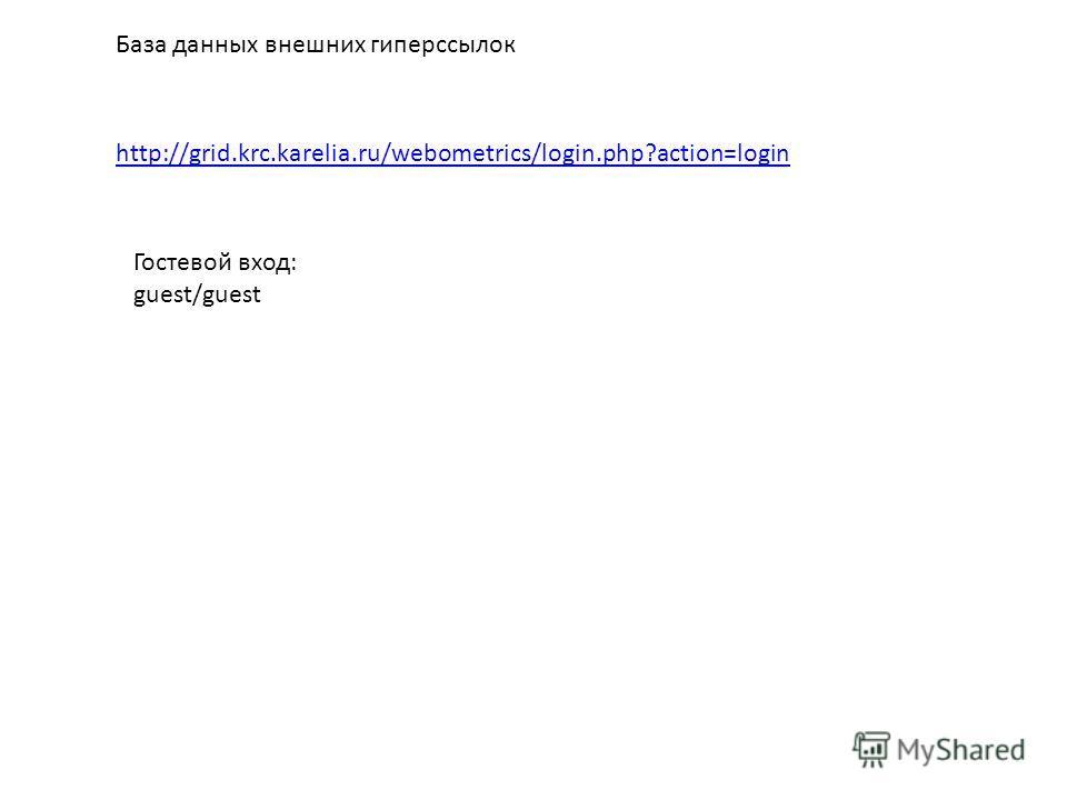 База данных внешних гиперссылок http://grid.krc.karelia.ru/webometrics/login.php?action=login Гостевой вход: guest/guest