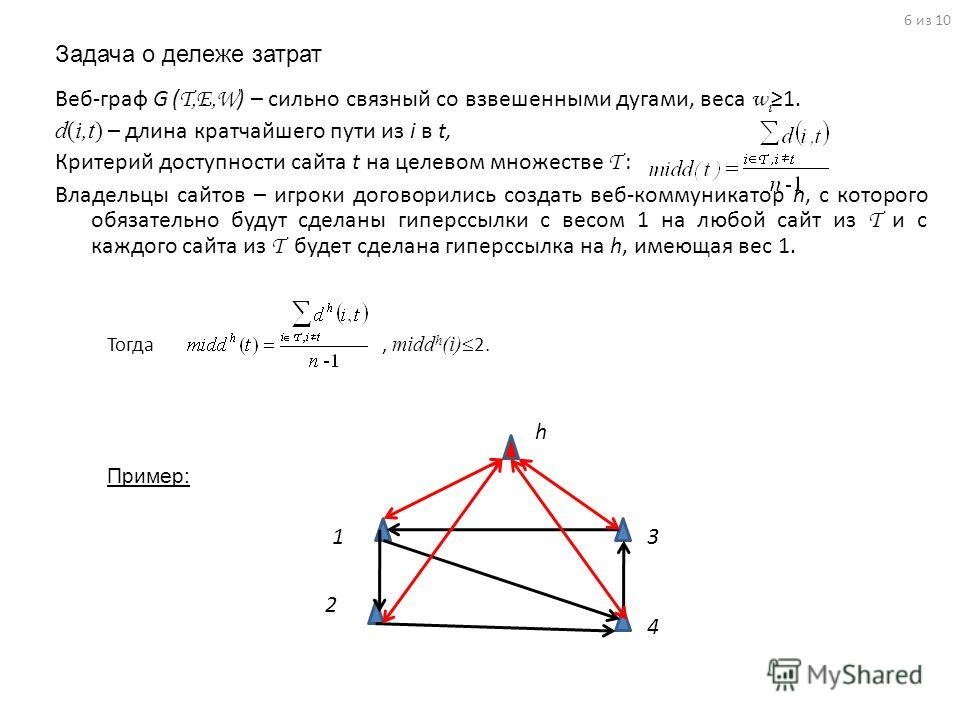 Задача о дележе затрат 6 из 10 1 2 3 4 Пример: h Тогда, midd h (i) 2. Веб-граф G ( T,E,W ) – сильно связный со взвешенными дугами, веса w i1. d(i,t) – длина кратчайшего пути из i в t, Критерий доступности сайта t на целевом множестве T : Владельцы са