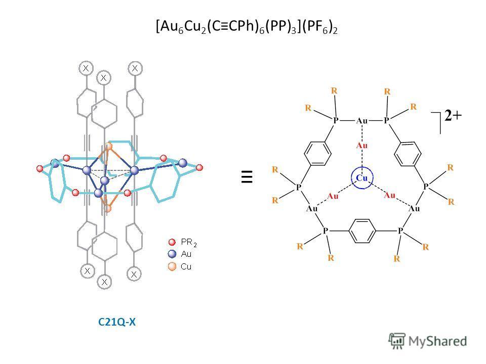 [Au 6 Cu 2 (CCPh) 6 (PP) 3 ](PF 6 ) 2 С21Q-X