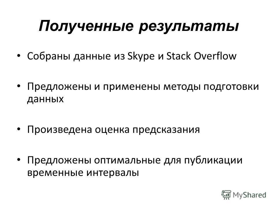 Полученные результаты Собраны данные из Skype и Stack Overflow Предложены и применены методы подготовки данных Произведена оценка предсказания Предложены оптимальные для публикации временные интервалы