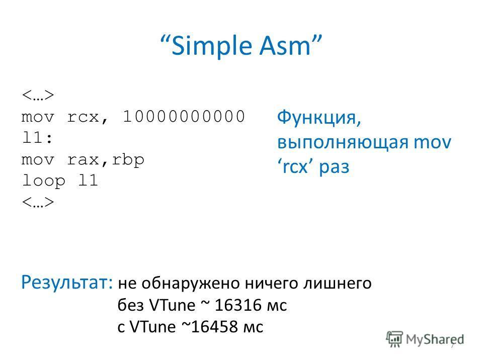 Simple Asm 7 mov rcx, 10000000000 l1: mov rax,rbp loop l1 Функция, выполняющая mov rcx раз Результат: не обнаружено ничего лишнего без VTune ~ 16316 мс с VTune ~16458 мс
