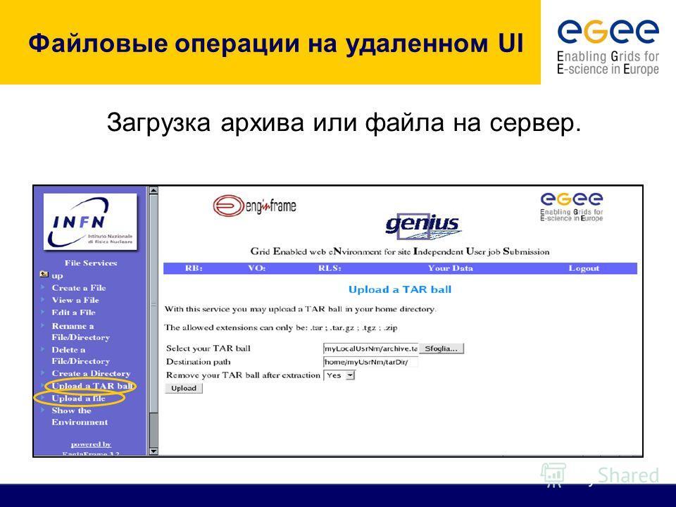 Файловые операции на удаленном UI Загрузка архива или файла на сервер.