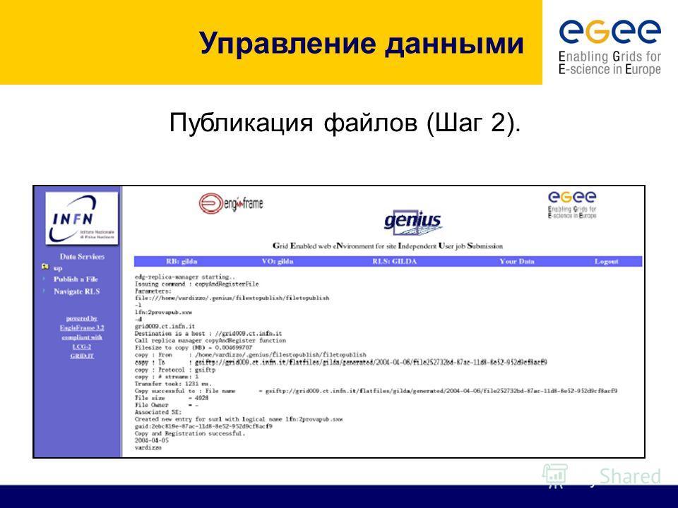 Публикация файлов (Шаг 2). Управление данными