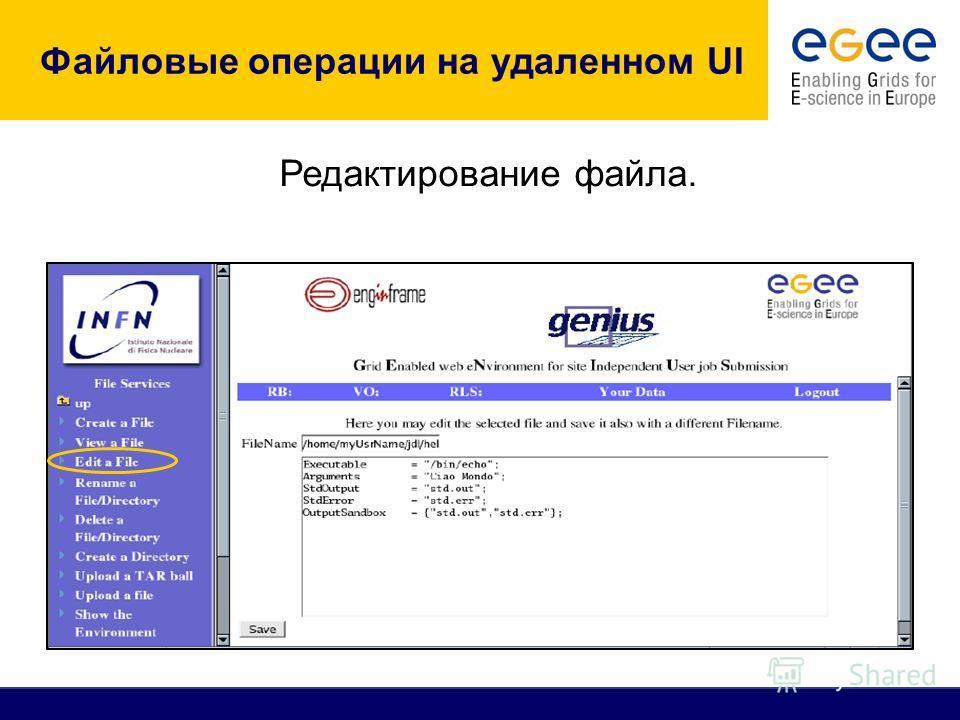 Файловые операции на удаленном UI Редактирование файла.