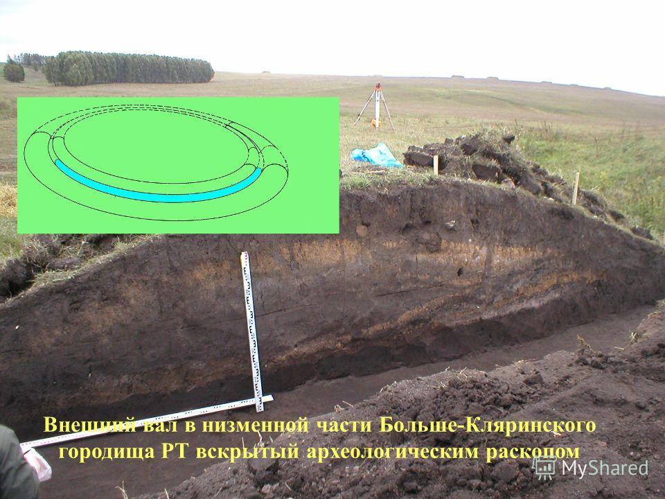 8 Внешний вал в низменной части Больше-Кляринского городища РТ вскрытый археологическим раскопом