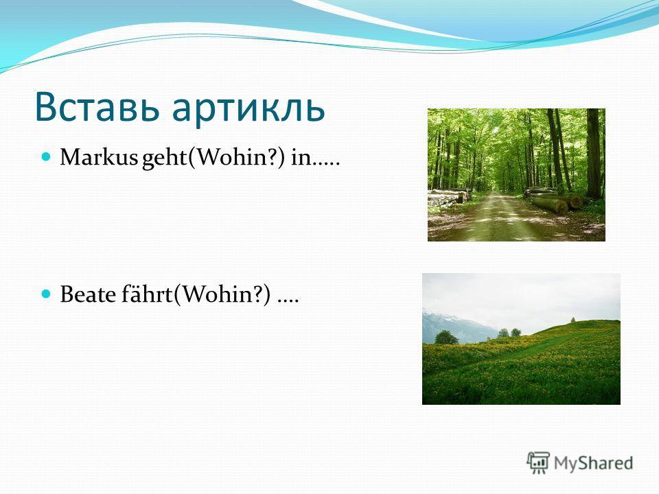 Вставь артикль Markus geht(Wohin?) in….. Beate fährt(Wohin?) ….