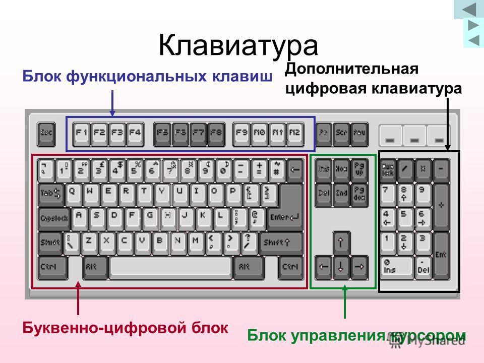 Клавиатура Буквенно-цифровой блок Блок функциональных клавиш Блок управления курсором Дополнительная цифровая клавиатура
