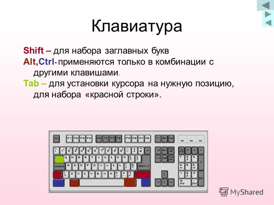Клавиатура Shift – для набора заглавных букв Alt,Ctrl - применяются только в комбинации с другими клавишами. Tab – для установки курсора на нужную позицию, для набора «красной строки».