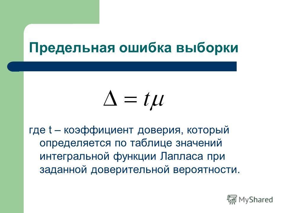 Предельная ошибка выборки где t – коэффициент доверия, который определяется по таблице значений интегральной функции Лапласа при заданной доверительной вероятности.