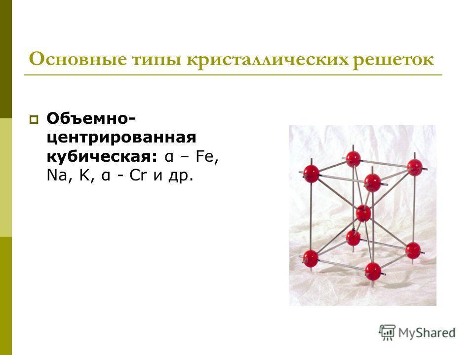 Основные типы кристаллических решеток Объемно- центрированная кубическая: α – Fe, Na, K, α - Cr и др.