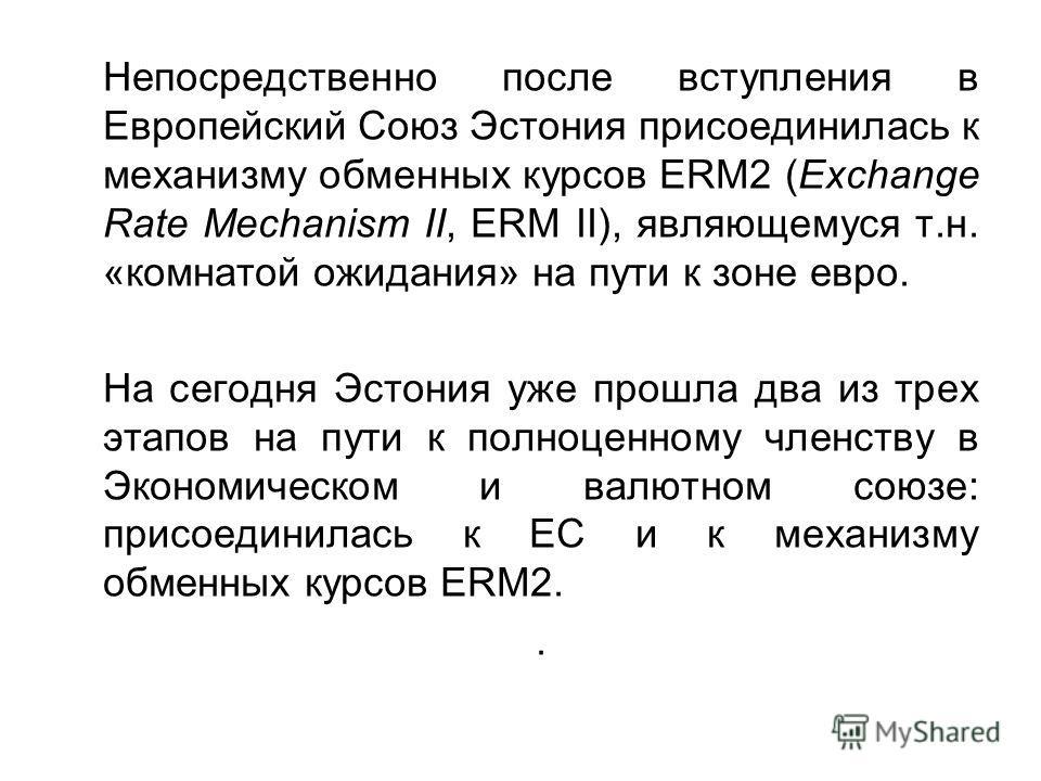 Непосредственно после вступления в Европейский Союз Эстония присоединилась к механизму обменных курсов ERM2 (Exchange Rate Mechanism II, ERM II), являющемуся т.н. «комнатой ожидания» на пути к зоне евро. На сегодня Эстония уже прошла два из трех этап