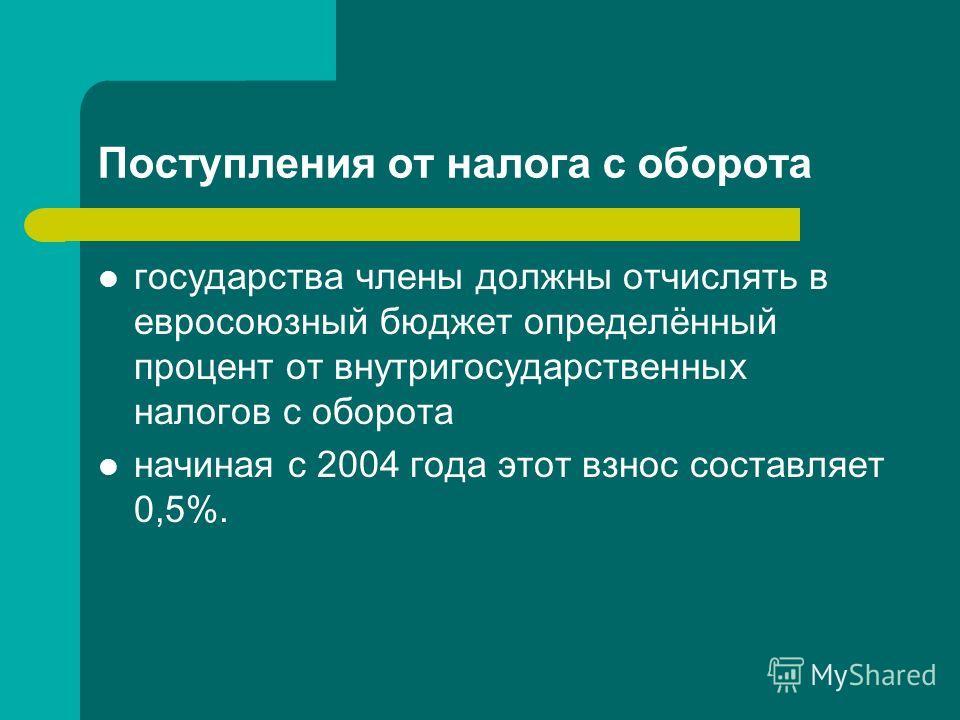 Поступления от налога с оборота государства члены должны отчислять в евросоюзный бюджет определённый процент от внутригосударственных налогов с оборота начиная с 2004 года этот взнос составляет 0,5%.