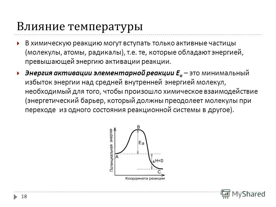 Влияние температуры В химическую реакцию могут вступать только активные частицы ( молекулы, атомы, радикалы ), т. е. те, которые обладают энергией, превышающей энергию активации реакции. Энергия активации элементарной реакции Е а – это минимальный из