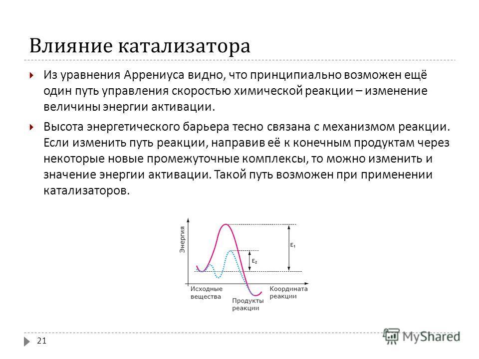 Влияние катализатора Из уравнения Аррениуса видно, что принципиально возможен ещё один путь управления скоростью химической реакции – изменение величины энергии активации. Высота энергетического барьера тесно связана с механизмом реакции. Если измени