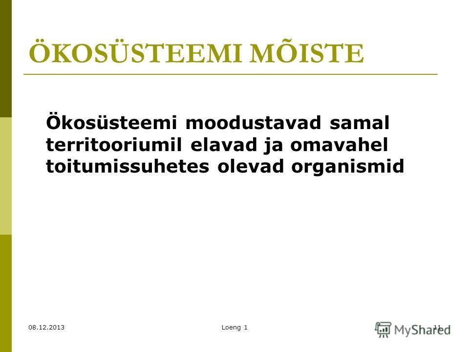 ÖKOSÜSTEEMI MÕISTE Ökosüsteemi moodustavad samal territooriumil elavad ja omavahel toitumissuhetes olevad organismid 08.12.2013Loeng 111