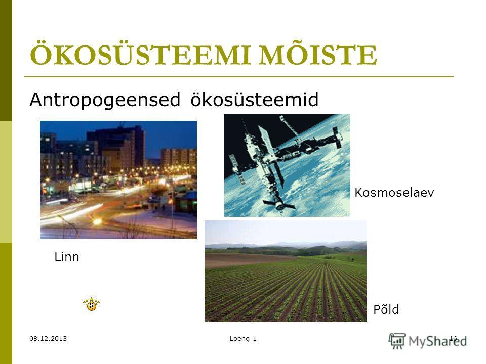 08.12.2013Loeng 116 ÖKOSÜSTEEMI MÕISTE Antropogeensed ökosüsteemid Linn Põld Kosmoselaev