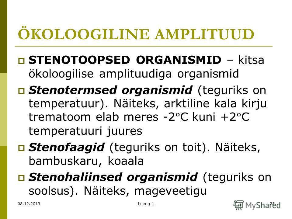 ÖKOLOOGILINE AMPLITUUD STENOTOOPSED ORGANISMID – kitsa ökoloogilise amplituudiga organismid Stenotermsed organismid (teguriks on temperatuur). Näiteks, arktiline kala kirju trematoom elab meres -2 º C kuni +2 º C temperatuuri juures Stenofaagid (tegu