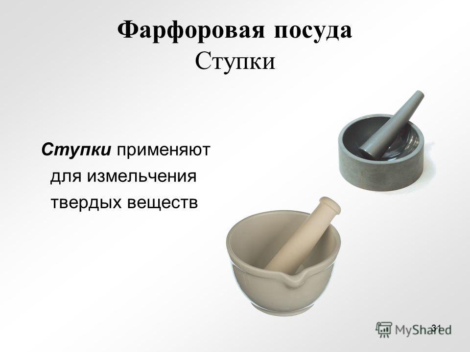 Фарфоровая посуда Ступки Ступки применяют для измельчения твердых веществ 31