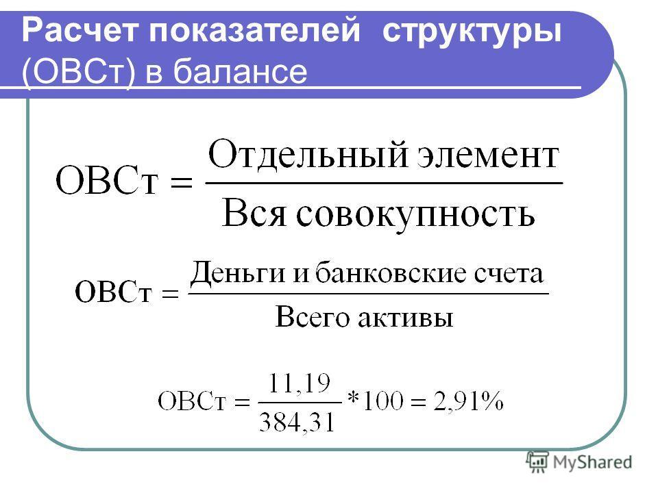Расчет показателей структуры (ОВСт) в балансе