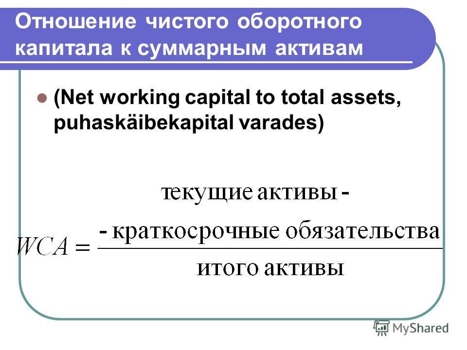 Отношение чистого оборотного капитала к суммарным активам (Net working capital to total assets, puhaskäibekapital varades)