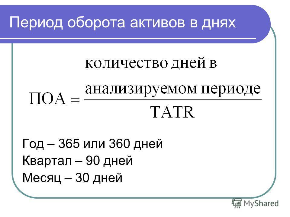Период оборота активов в днях Год – 365 или 360 дней Квартал – 90 дней Месяц – 30 дней