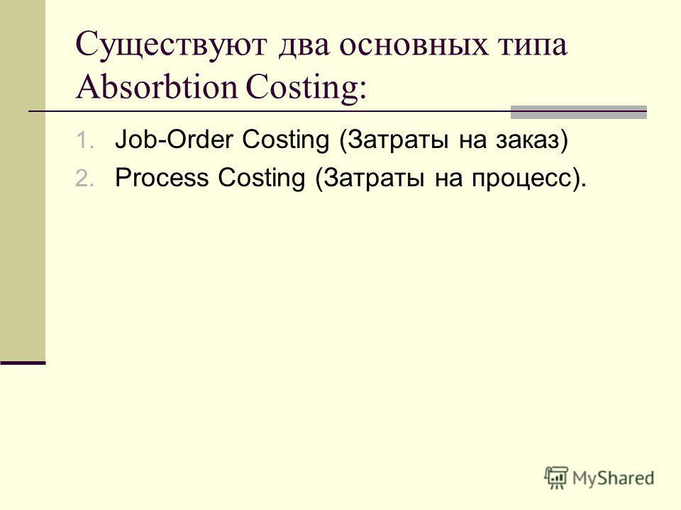 Существуют два основных типа Absorbtion Costing: 1. Job-Order Costing (Затраты на заказ) 2. Process Costing (Затраты на процесс).