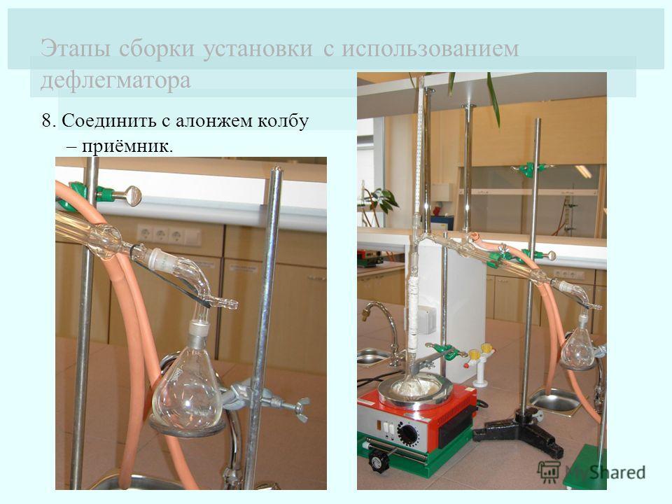 Этапы сборки установки с использованием дефлегматора 8. Соединить с алонжем колбу – приёмник.