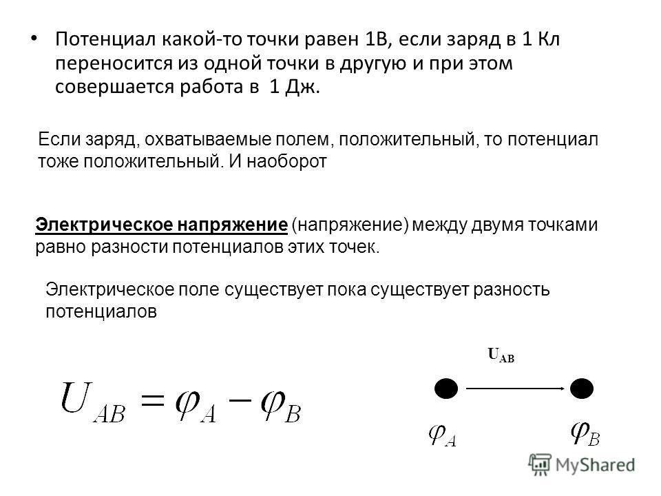 Потенциал какой-то точки равен 1В, если заряд в 1 Кл переносится из одной точки в другую и при этом совершается работа в 1 Дж. Электрическое напряжение (напряжение) между двумя точками равно разности потенциалов этих точек. U AB Если заряд, охватывае