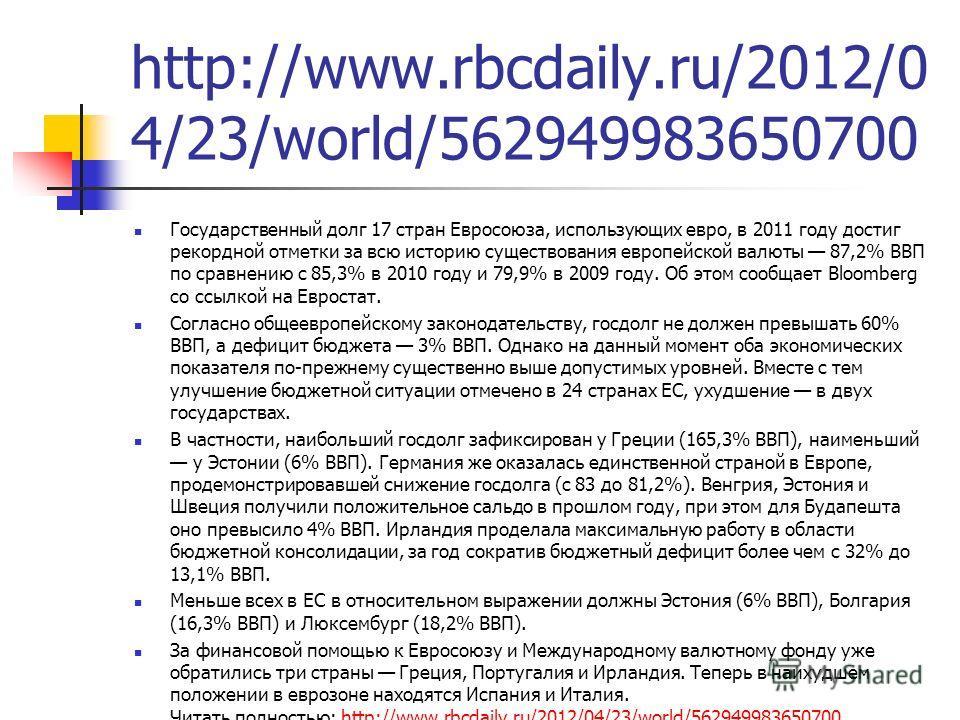 http://www.rbcdaily.ru/2012/0 4/23/world/562949983650700 Государственный долг 17 стран Евросоюза, использующих евро, в 2011 году достиг рекордной отметки за всю историю существования европейской валюты 87,2% ВВП по сравнению с 85,3% в 2010 году и 79,