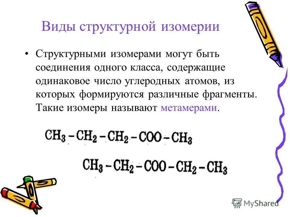 Виды структурной изомерии Структурными изомерами могут быть соединения одного класса, содержащие одинаковое число углеродных атомов, из которых формируются различные фрагменты. Такие изомеры называют метамерами.