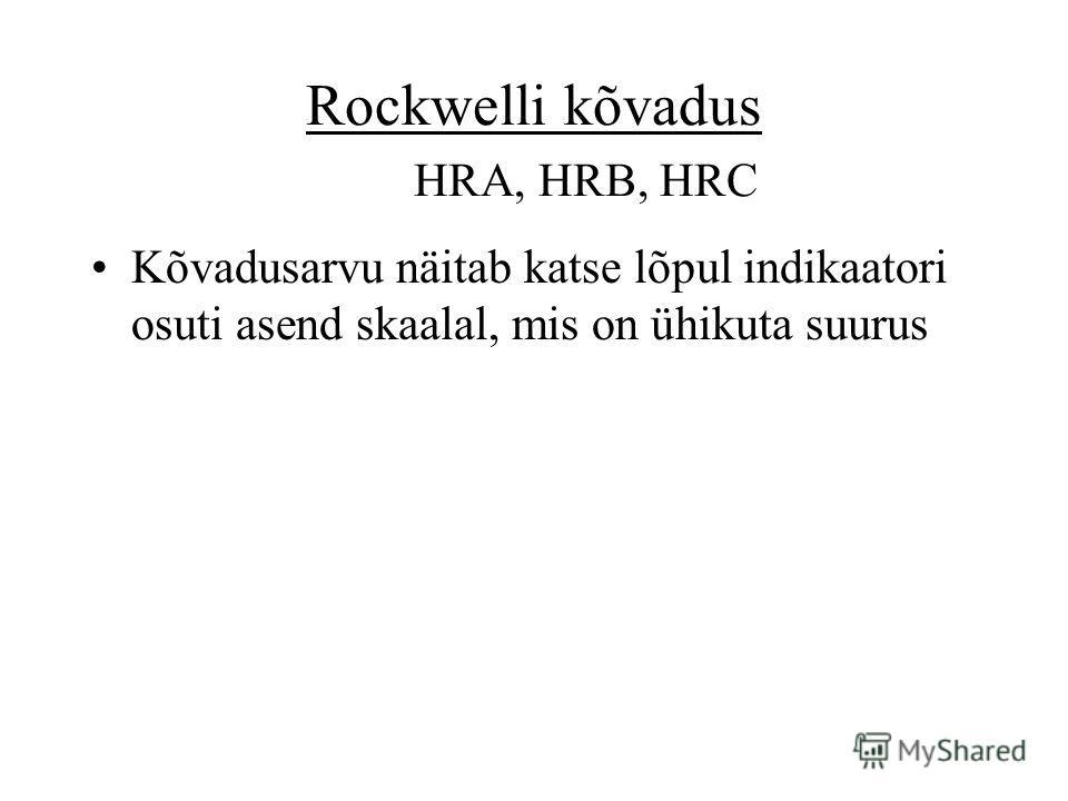 Rockwelli kõvadus HRA, HRB, HRC Kõvadusarvu näitab katse lõpul indikaatori osuti asend skaalal, mis on ühikuta suurus