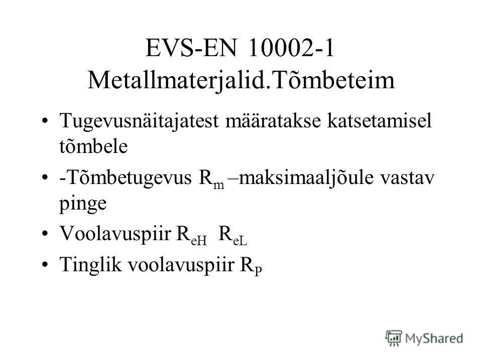 EVS-EN 10002-1 Metallmaterjalid.Tõmbeteim Tugevusnäitajatest määratakse katsetamisel tõmbele -Tõmbetugevus R m –maksimaaljõule vastav pinge Voolavuspiir R eH R eL Tinglik voolavuspiir R P