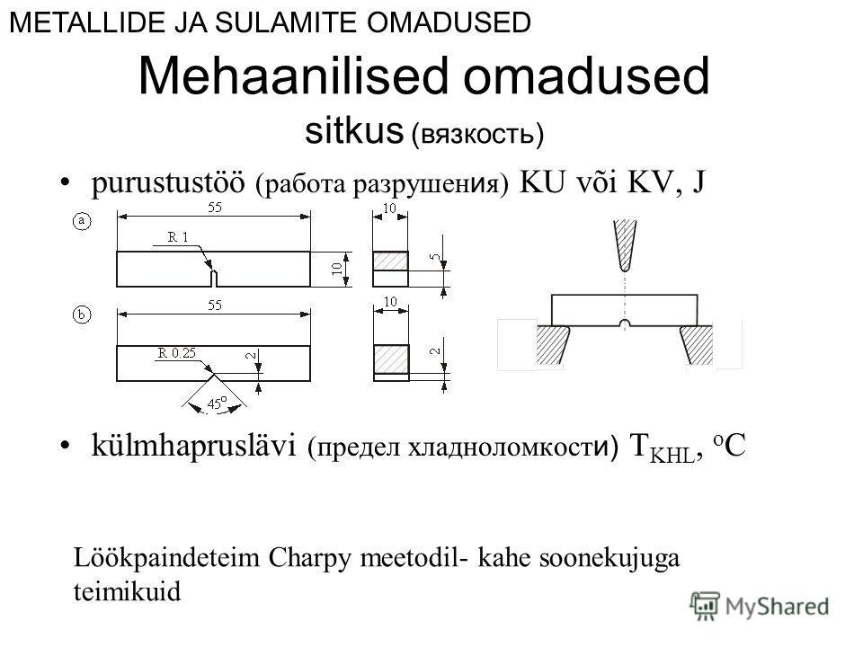 Mehaanilised omadused sitkus (вязкость) purustustöö (работа разрушен и я) KU või KV, J külmhapruslävi (предел хладноломкост и) T KHL, o C METALLIDE JA SULAMITE OMADUSED Löökpaindeteim Charpy meetodil- kahe soonekujuga teimikuid