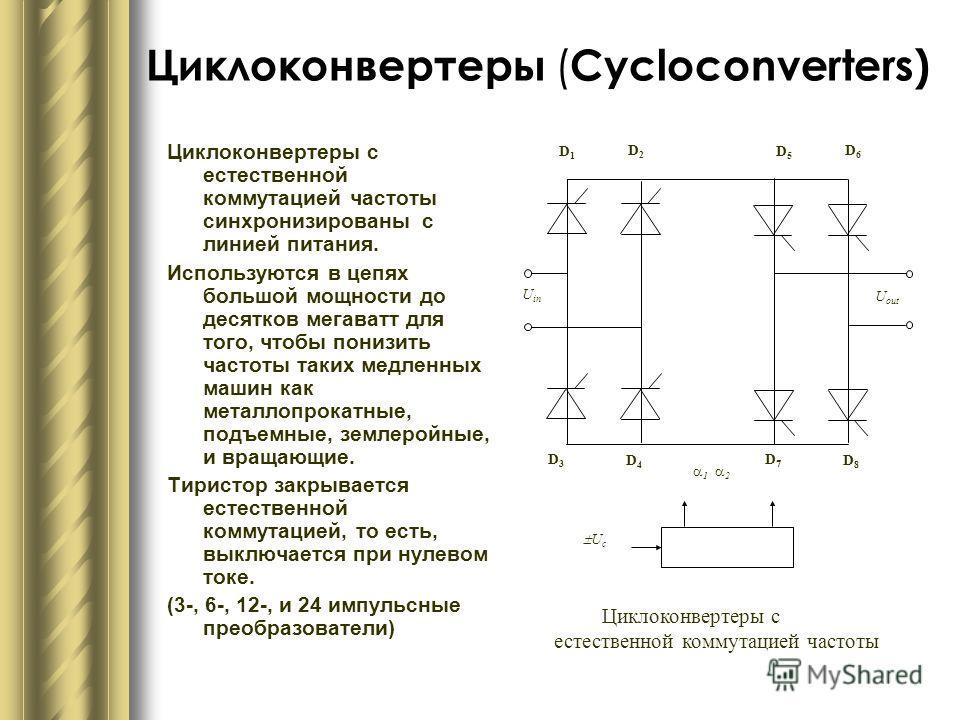 Циклоконвертеры ( Cycloconverters) Циклоконвертеры с естественной коммутацией частоты синхронизированы с линией питания. Используются в цепях большой мощности до десятков мегаватт для того, чтобы понизить частоты таких медленных машин как металлопрок