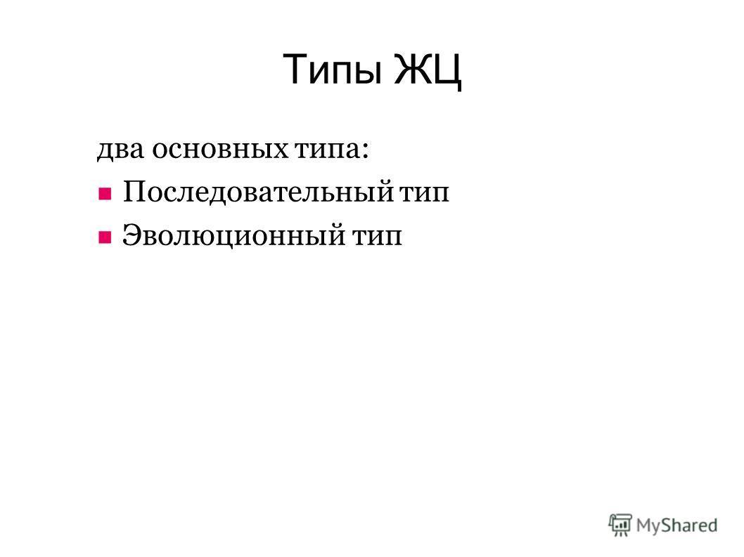 Типы ЖЦ два основных типа: Последовательный тип Эволюционный тип