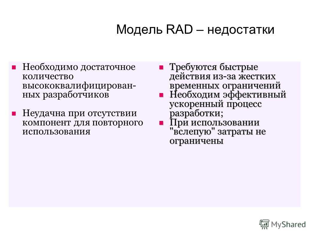 Модель RAD – недостатки Необходимо достаточное количество высококвалифицирован- ных разработчиков Неудачна при отсутствии компонент для повторного использования Требуются быстрые действия из-за жестких временных ограничений Требуются быстрые действия