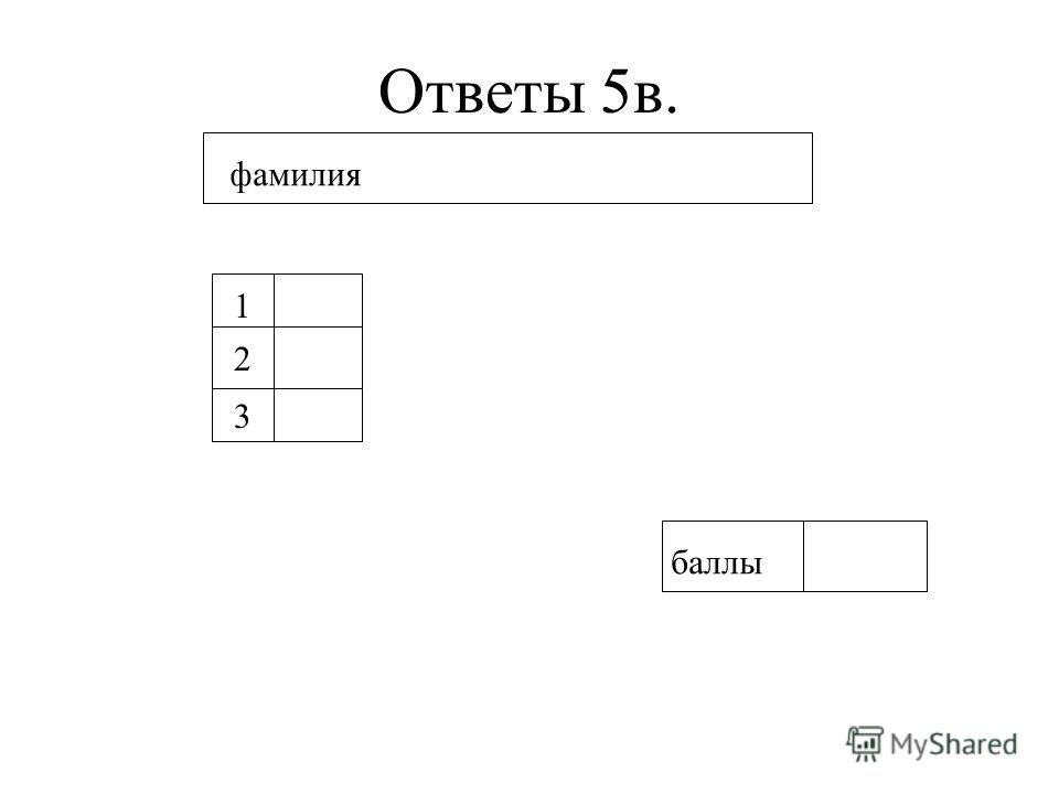 Ответы 5в. фамилия 1 2 3 баллы